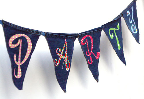 Denim Party Banner Made From Recycled Jeans